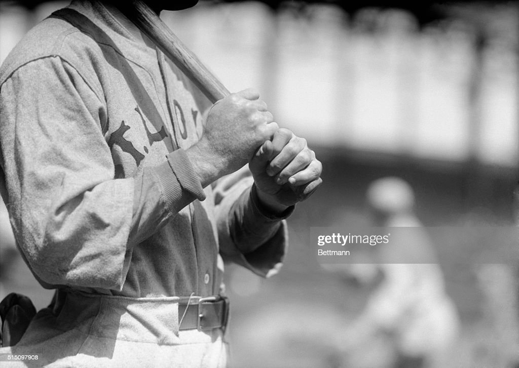 Photo of Rogers Hornsby at the Polo Grounds, star second baseman of the St. Louis Cardinals and batting king of the National League. Hornsby led the League in batting last season with an average of 370. He is out to repeat this year and to better his last season's mark. Here is a close up of Hornsby's hands, showing how he grasps the bat.