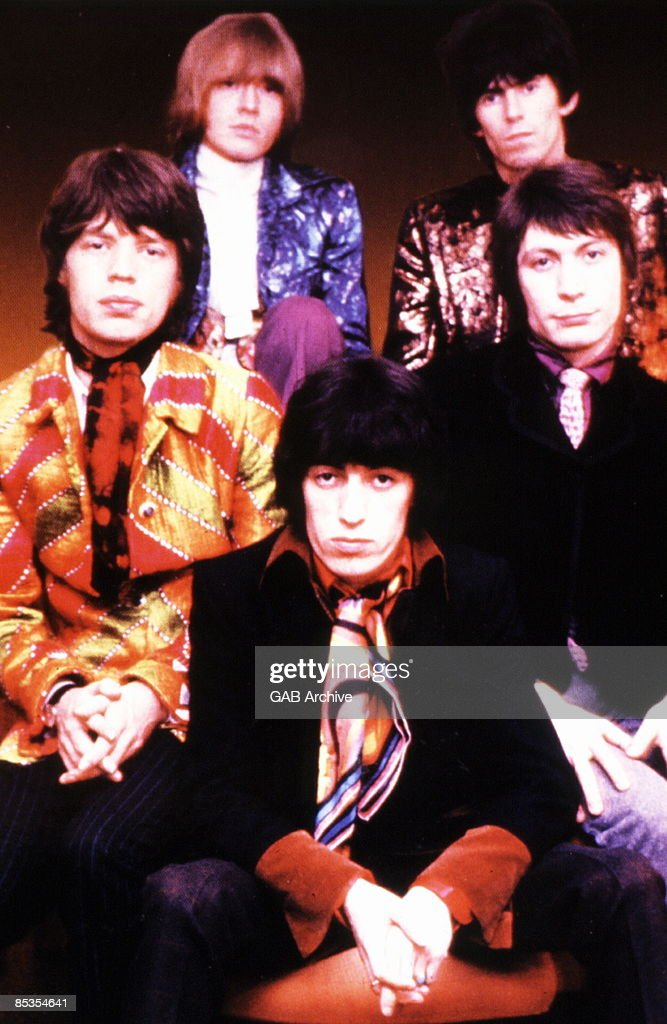 Photo of ROLLING STONES and Charlie WATTS and Mick JAGGER and Keith RICHARDS and Bill WYMAN and Brian JONES Posed group portrait LR Mick Jagger Brian...