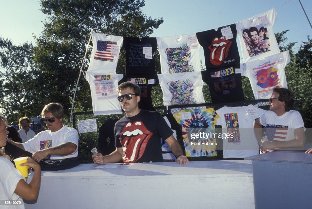 Photo of ROLLING STONES and CONCERT and MERCHANDISE; Rolling Stones concert, 1989, USA, wearing Rolling Stones t-shirt