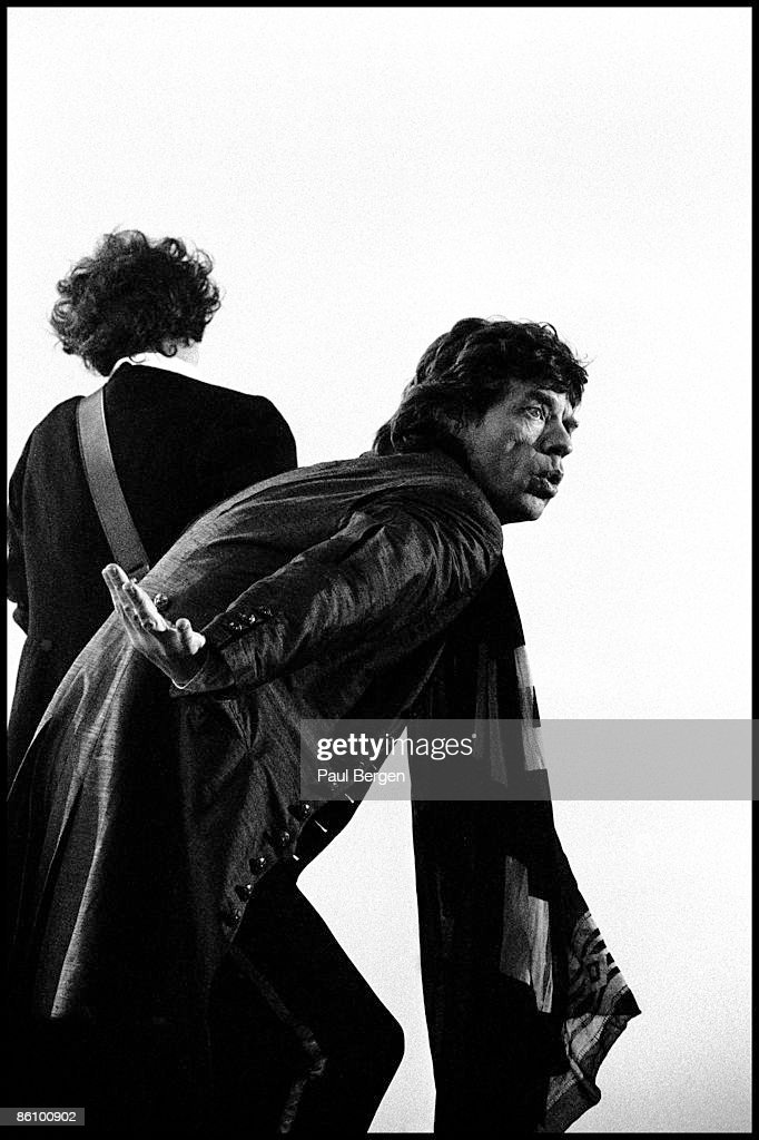 LANDGRAAF Photo of ROLLING STONES and Keith RICHARDS and Mick JAGGER, <a gi-track='captionPersonalityLinkClicked' href=/galleries/search?phrase=Keith+Richards+-+Musician&family=editorial&specificpeople=202882 ng-click='$event.stopPropagation()'>Keith Richards</a> (behind) and <a gi-track='captionPersonalityLinkClicked' href=/galleries/search?phrase=Mick+Jagger&family=editorial&specificpeople=201786 ng-click='$event.stopPropagation()'>Mick Jagger</a> performing on stage - Voodoo Lounge Tour