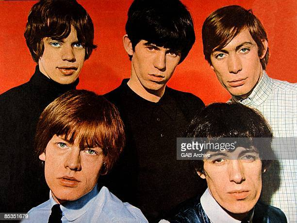 Photo of ROLLING STONES Group portrait Clockwise from bleft Brian Jones Mick Jagger Keith Richards Charlie Watts and Bill Wyman