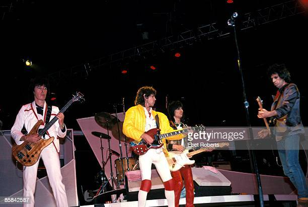 Bill Wyman Mick Jagger Ron Wood Keith Richards performing live onstage