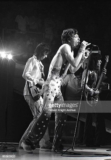 HONOLULU Photo of ROLLING STONES LR Keith Richards Mick Jagger and Bill Wyman performing live onstage