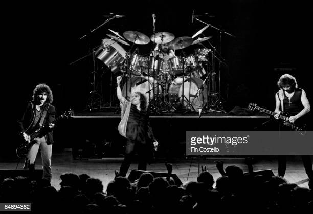 Photo of Ronnie DIO and BLACK SABBATH LR Geezer Butler Ronnie Dio Bill Ward Tony Iommi performing live onstage at Gaumont