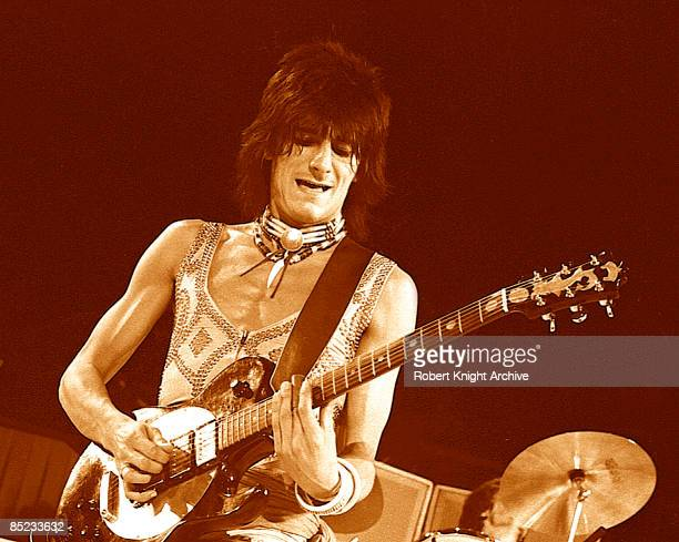 Photo of Ronnie WOOD Ron Wood performing live onstage with The Faces playing Zemaitis guitar