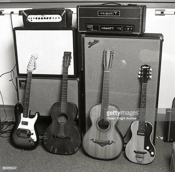 Photo of Ry COODER Ry Cooder's guitar collection Fender Stratocaster Gibson and National Hiwatt amplifier