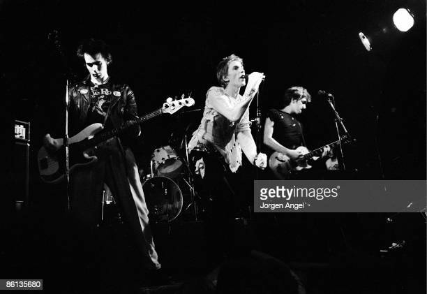 Photo of SEX PISTOLS The Sex Pistols Left to right Sid Vicious Johnny Rotten and Steve Jones Copenhagen Denmark July 13 1977