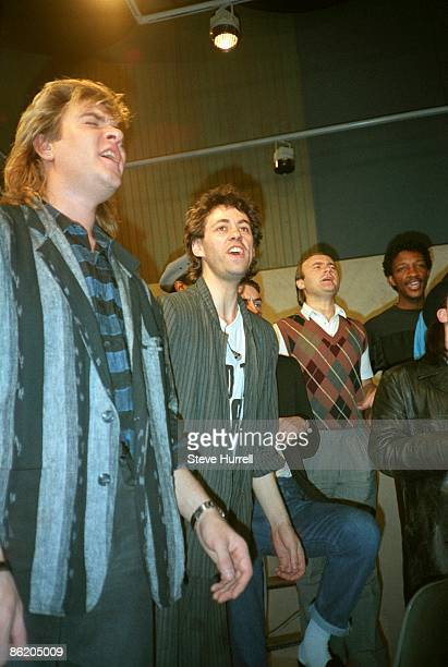 STUDIOS Photo of Simon Le Bon and LIVE EARTH CONCERT and DURAN DURAN and BAND AID and Bob GELDOF and Simon Le Bon and Phil COLLINS and Simon LE BON...
