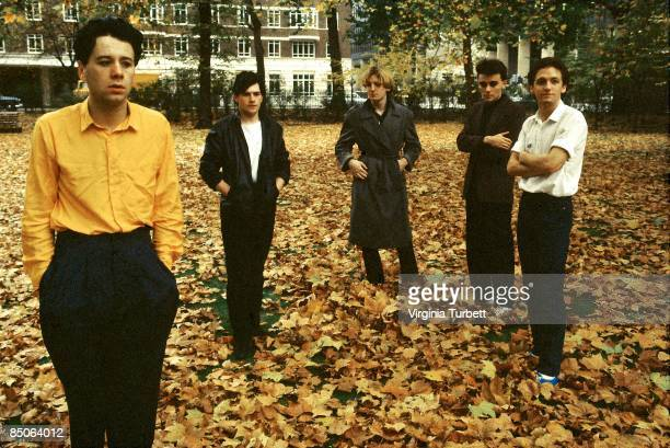 Photo of SIMPLE MINDS LR Jim Kerr Charlie Burchill Derek Forbes Mick Macneil Brian McGee