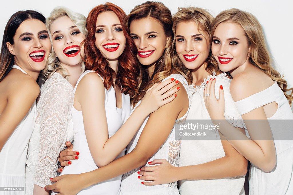 Photo of six beautiful girls : Stock Photo