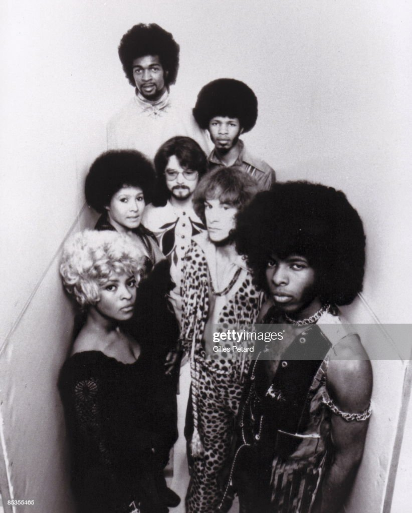 Photo of Sly STONE and Sly & The Family STONE; Posed studio group portrait - Clockwise from top: Larry Graham, Freddie Stone, Gregg Errico, Sly Stone (front), Rose Stone, Cynthia Robinson, and Jerry Martini