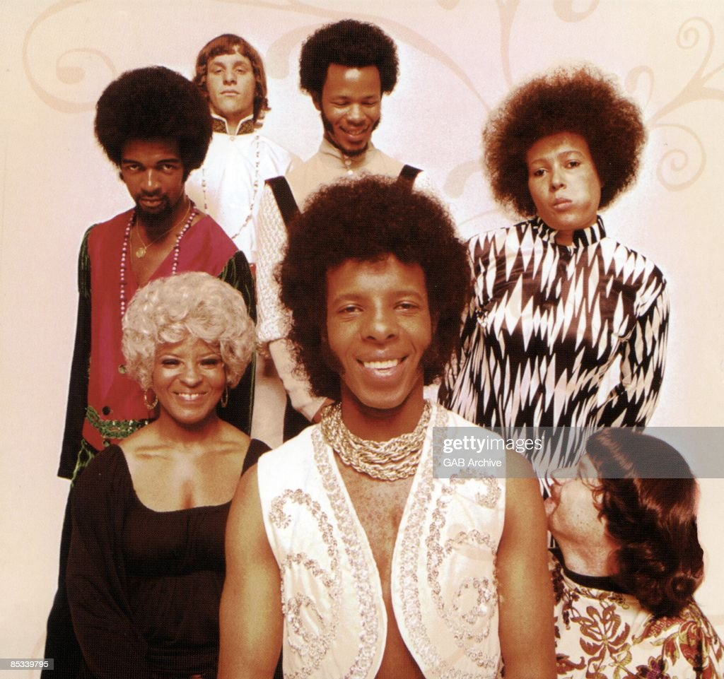 Photo of SLY & The FAMILY STONE and Larry GRAHAM and Gregg ERRICO and Freddie STONE and Cynthia ROBINSON and Rose STONE and Sly STONE and Jerry MARTINI; L-R (back): Larry Graham, Gregg Errico, Freddie Stone, Cynthia Robinson; (front): Rose Stone, Sly Stone, Jerry Martini - posed, group shot