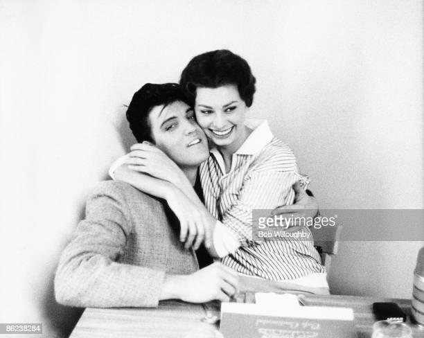 Photo of Sophia LOREN and Elvis PRESLEY with Sophia Loren posed