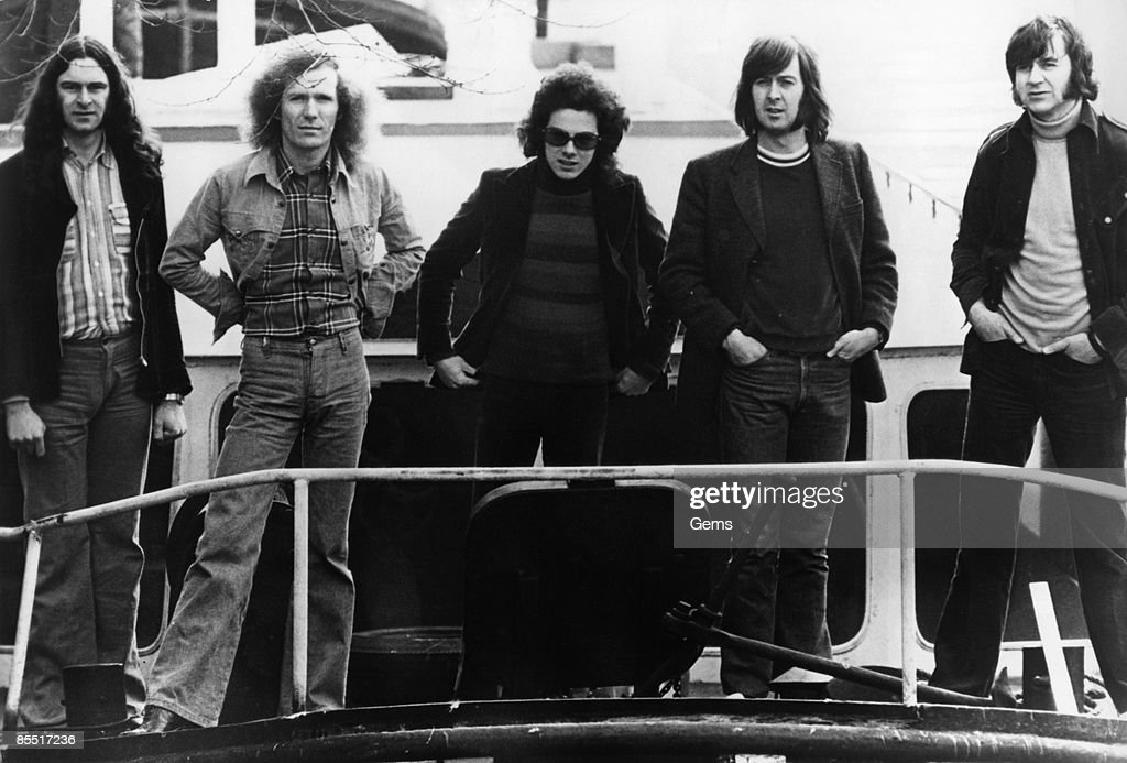 Photo of Spencer DAVIS and Spencer DAVIS GROUP and Pete YORK; Posed group portrait - Spencer Davis (2nd R) and Pete York
