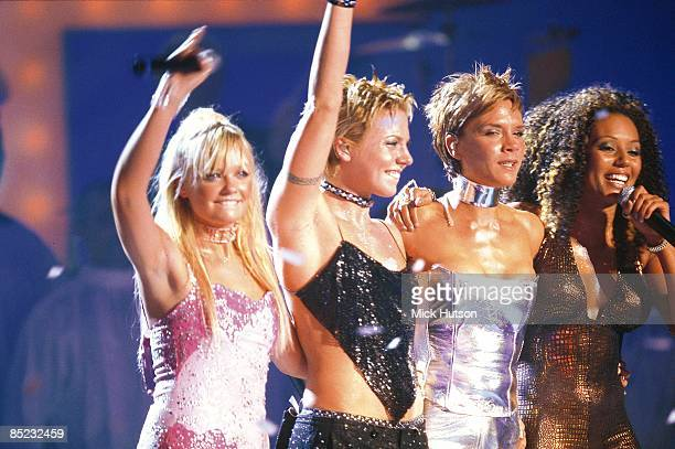 COURT Photo of SPICE GIRLS Group performing live on stage LR Emma Bunton Melanie Chisholm Victoria Beckham and Melanie Brown
