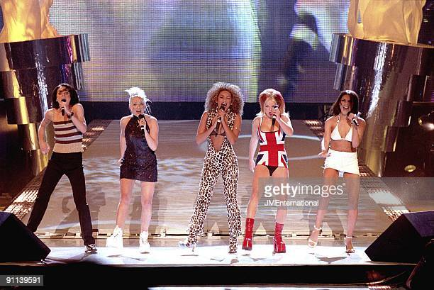 COURT Photo of SPICE GIRLS Group performing live on stage LR Melanie Chisholm Emma Bunton Melanie Brown Geri Halliwell and Victoria Adams