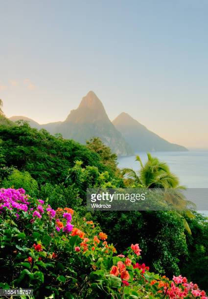 Photo of St. Lucias Twin Pitons at sunrise