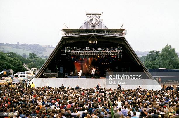 FESTIVAL Photo of STAGE and CROWDS and FANS and FESTIVALS Deacon Blue on one the main stages at the Glastonbury Festival attracting a large crowd
