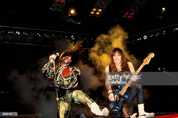 GARDEN Photo of Steve HARRIS and Bruce DICKINSON and IRON MAIDEN Bruce Dickinson and Steve Harris performing live onstage on Somewhere On Tour tour