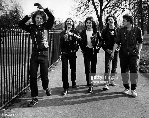 Photo of Steve HARRIS and Clive BURR and Dave MURRAY and Dennis STRATTON and IRON MAIDEN and Paul DI'ANNO LR Clive Burr Dave Murray Steve Harris...