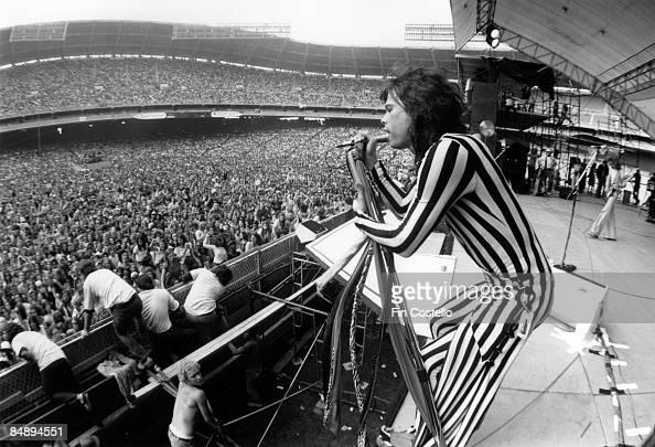 STADIUM Photo of Steven TYLER and AEROSMITH Steven Tyler performing live on stage at RFK Stadium crowd stadium rock