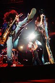 ARENA Photo of Steven TYLER and Joe PERRY and AEROSMITH Joe Perry and Steven Tyler performing on stage