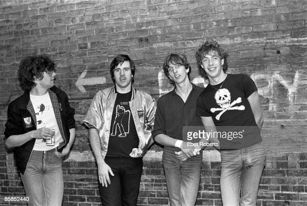 LOUNGE Photo of STIFF LITTLE FINGERS and Henry CLUNEY and Jake BURNS and Ali McMORDIE and Dolphin TAYLOR Group portrait aoutside LR Jake Burns Henry...