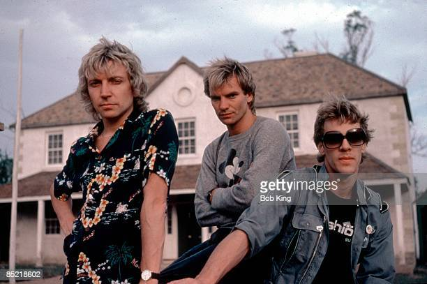 Photo of STING and POLICE and Andy SUMMERS and Stewart COPELAND LR Andy Summers Sting Stewart Copeland posed group shot