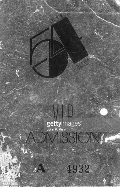 STUDIO 54 Photo of STUDIO 54 VIP admission ticket circa 1975