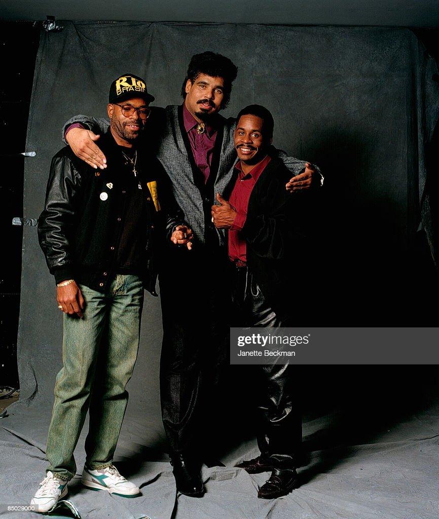 Photo of Sugar Hill Gang; Sugarhill Gang, left to right: Master Gee, Wonder Mike & Tyrone Blackman, (missing: Big Bank Hank), New York City