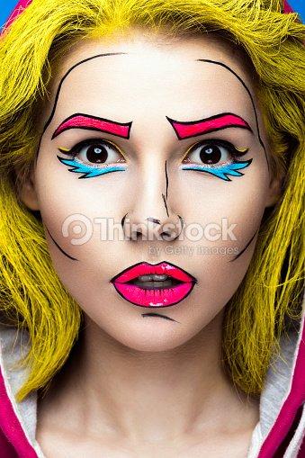 photo de jeune femme surprise avec bande dessin e pop art de maquillage photo thinkstock. Black Bedroom Furniture Sets. Home Design Ideas
