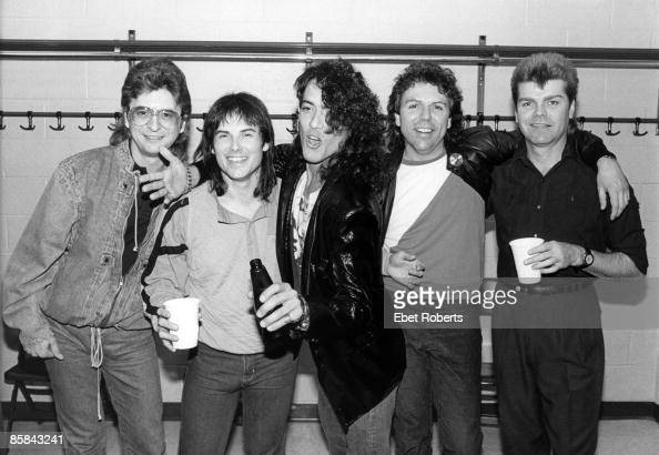 Photo of SURVIVOR and Stephen PEARCY and RATT and Jim PETERIK and Jimi JAMISON and Marc DROUBAY and Stephan ELLIS LR Jim Peterik Jimi Jamison Stephen...