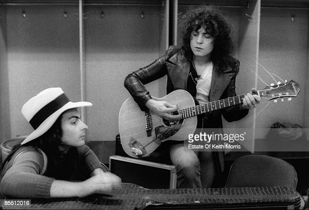 Photo of T REX and Mickey FINN and Marc BOLAN Mickey Finn Marc Bolan backstage