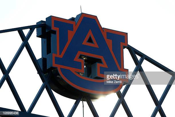 Photo of the Auburn University logo at the top of JordanHare Stadium during the game between the Arkansas Razorbacks and the Auburn Tigers on October...