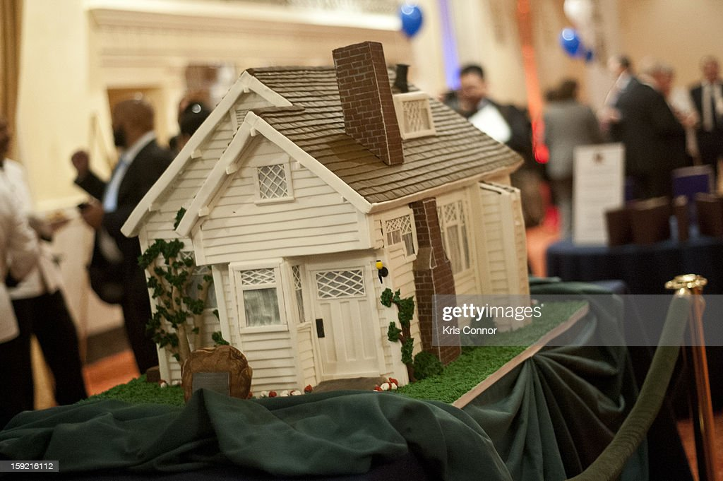 A photo of the birthday cake that is model of where Nixon was born during President Nixon's 100th Birthday Gala on January 9, 2013 in Washington, United States.