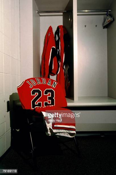 Photo of the Chicago Bulls' locker room and Michael Jordan's jersey prior to Game Three of the 1996 NBA Finals at Key Arena on June 9 1996 in Seattle...
