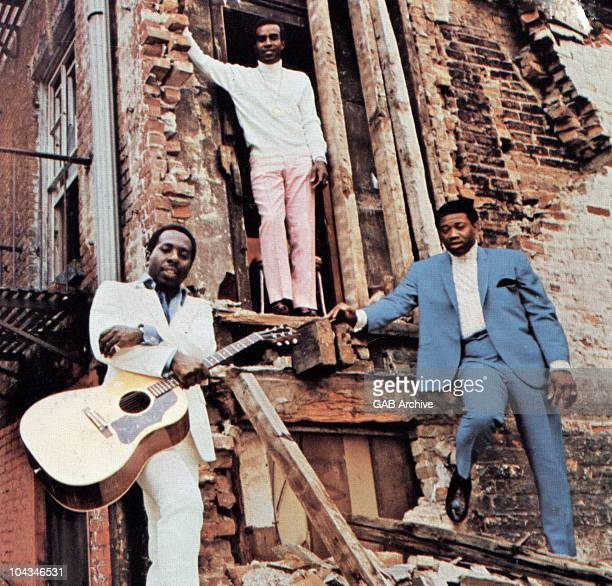 Photo of The Impressions LR Curtis Mayfield Sam Gooden Fred Cash