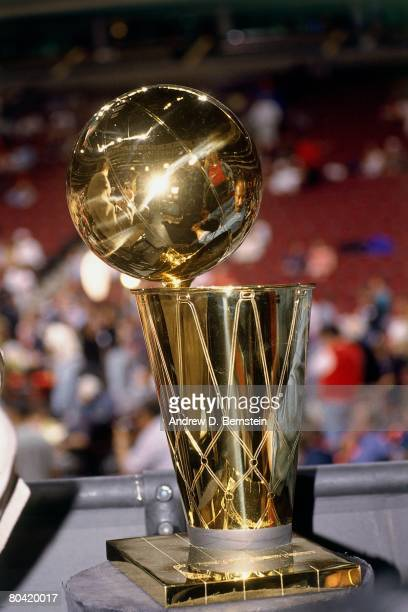 Photo of the Larry O'Brien trophy after Game Six of the 1996 NBA Finals between the Seattle Sonics ans the Chicago Bull at the United Center on June...