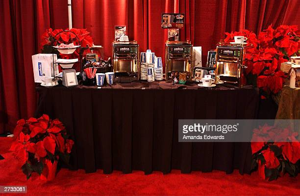 A photo of the Lavazza Espresso counter at the Distinctive Assets 'A Home for the Holidays' talent gift lounge held on November 15 2003 at the RenMar...