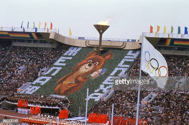 Photo of the Olympic Games' mascot Mishabear 19 July 1980 in Lenin Stadium Moscow wishing everyone good luck at the opening ceremony of the 1980...