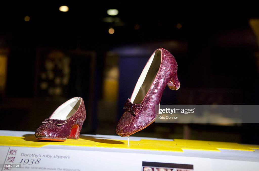 A photo of the Ruby Slippers from 'The Wizard Of Oz' are taken off view from the Smithsonian's National Museum of American History to appear in the 'Hollywood Costume' exhibition at the Victoria and Albert Museum in London at National Museum Of American History on October 9, 2012 in Washington, DC.