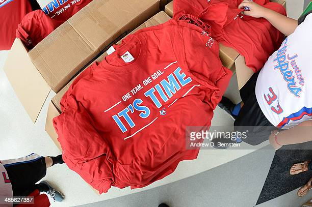 A photo of the tshirts given out to fans before Game One of the Western Conference Quarterfinals of the NBA Playoffs between the Los Angeles Clippers...