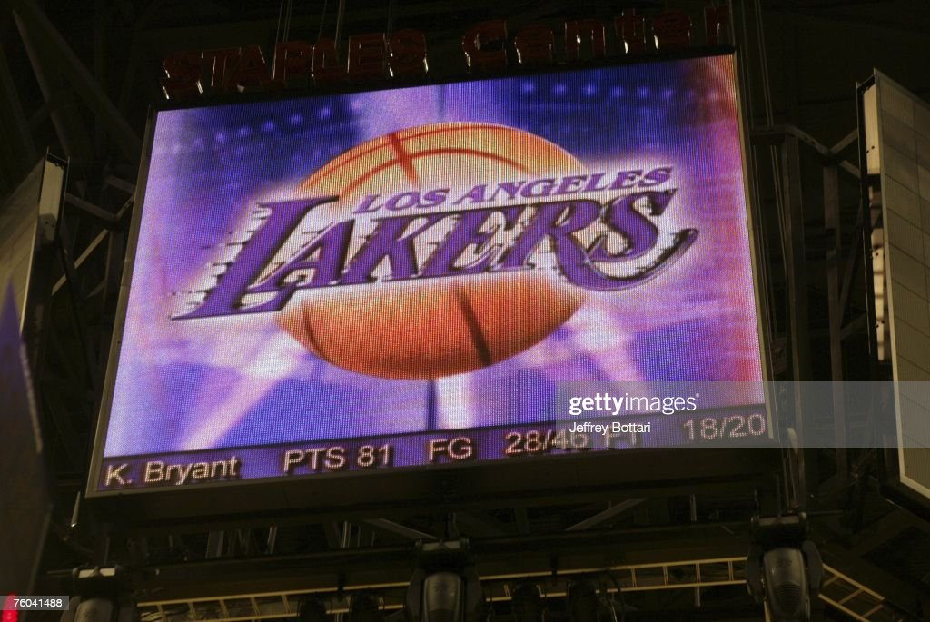 Photo of the video board after Kobe Bryant's 81 point explosion against the Toronto Raptors on January 22, 2006 at Staples Center in Los Angeles, California.