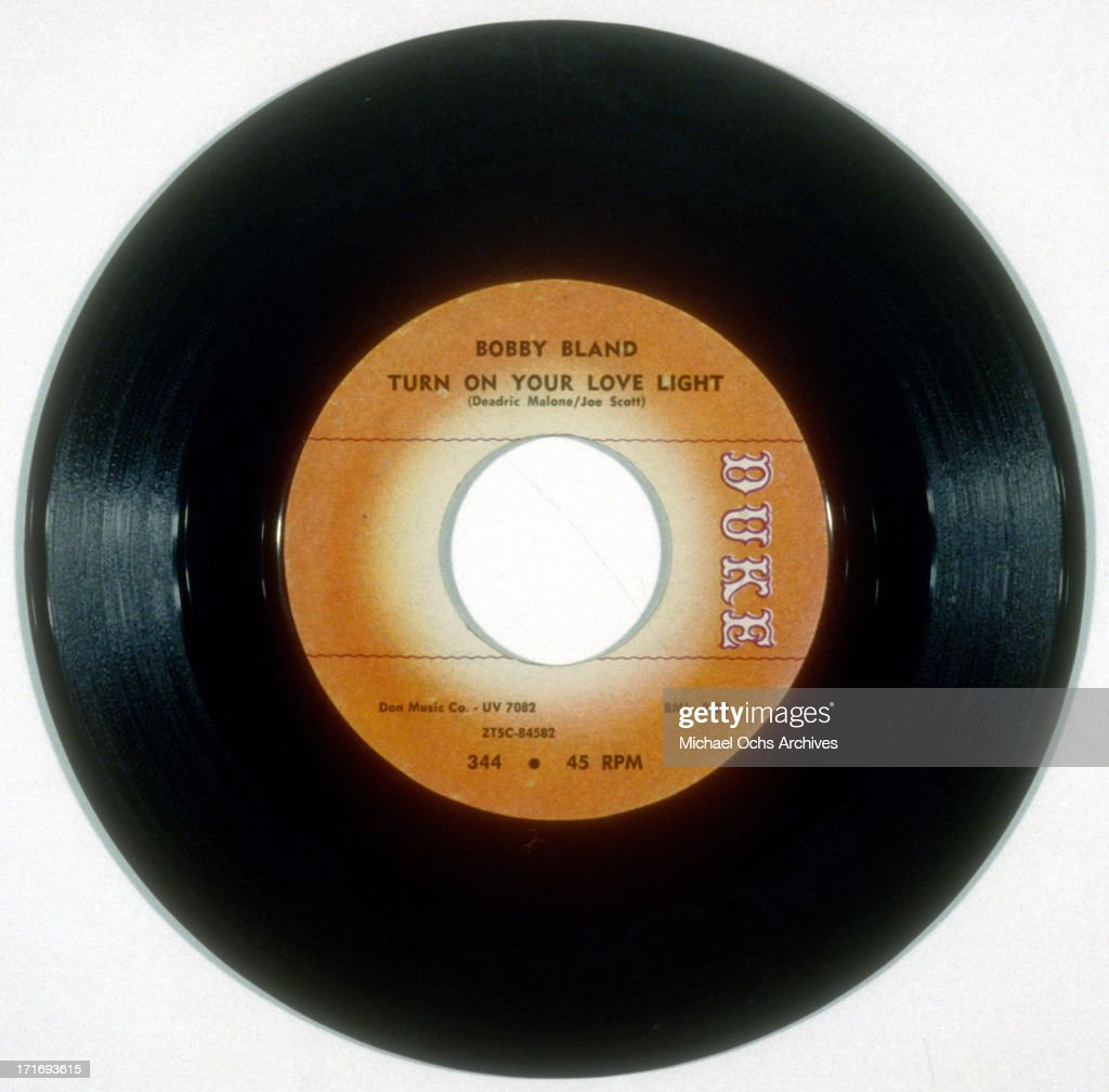 A photo of the vinyl 45 RPM record of 'Turn On Your Love Light' by Bobby 'Blue' Bland and released on Duke Recordings in 1961