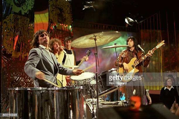 Keith Moon Roger Daltrey Pete Townshend John Entwistle performing on 'Pop Go The Sixties' TV show