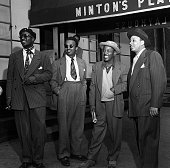 Photo of Thelonious MONK and MINTONS and JAZZ CLUBS and Howard McGHEE Thelonious Monk Howard McGhee Roy Eldridge Teddy Hill posed outside Minton's...
