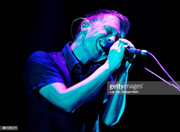 Photo of Thom Yorke from Radiohead performing live onstage in the Netherlands on 9th May 2006