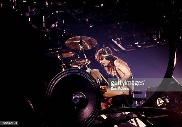 Photo of Tommy LEE and MOTLEY CRUE Tommy Lee performing live onstage playing revolving drum kit