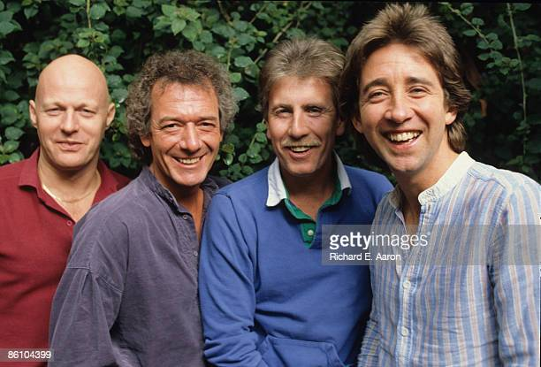Photo of Tony HICKS and HOLLIES and Bobby ELLIOTT and Allan CLARKE and Graham NASH LR Bobby Elliott Allan Clarke Graham Nash Tony Hicks posed group...