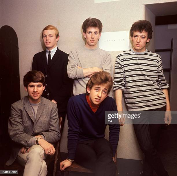 Photo of Tony HICKS and HOLLIES and Graham NASH and Eric HAYDOCK and Bobby ELLIOTT and Allan CLARKE LR Bobby Elliott Graham Nash Allan Clarke Eric...